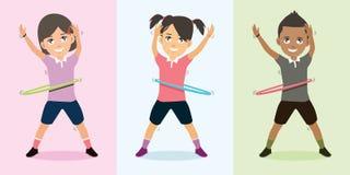 Niños que juegan el baile del aro con el ejemplo feliz del vector de la cara ilustración del vector
