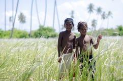 Niños que juegan en el campo en la zona rural Fotos de archivo