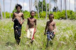 Niños que juegan en el campo en la zona rural Fotografía de archivo libre de regalías