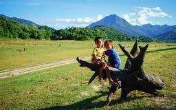 Niños que juegan en el campo en Vietnam Fotografía de archivo
