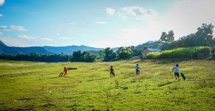 Niños que juegan en el campo en Vietnam Imagen de archivo