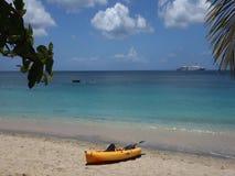 Niños que juegan en el mar del Caribe con un barco de pasajero en el fondo almacen de metraje de vídeo