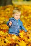 Niños que juegan en el parque del otoño Imagenes de archivo