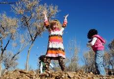 Niños que juegan en las hojas foto de archivo libre de regalías