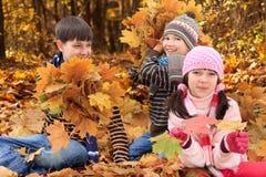 Niños que juegan en otoño Fotografía de archivo libre de regalías