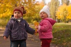 Niños que juegan en otoño Imágenes de archivo libres de regalías