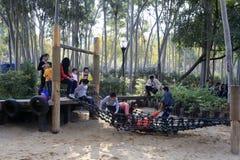 Niños que juegan en puente de cuerda Foto de archivo