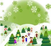 Niños que juegan en un paisaje del invierno de la fantasía fotos de archivo