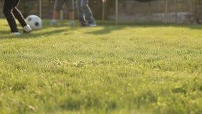 Niños que juegan a fútbol con una bola en la hierba almacen de video