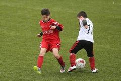 Niños que juegan a fútbol o a fútbol Fotografía de archivo libre de regalías