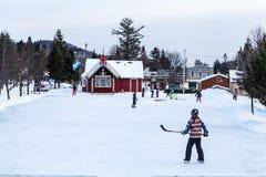 Niños que juegan a hockey fotografía de archivo libre de regalías