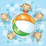 Niños que juegan la bola en la piscina ilustración del vector