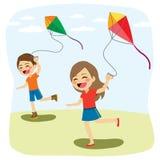 Niños que juegan la cometa libre illustration