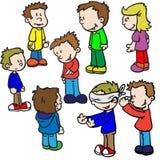 Niños que juegan la piel de ante del hombre ciego ilustración del vector