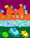 Niños que juegan, mundo de los cabritos ilustración del vector