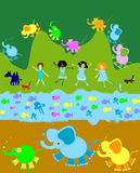 Niños que juegan, mundo de los cabritos libre illustration