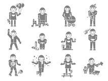 Niños que juegan negro ilustración del vector
