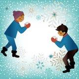 Niños que juegan tema del invierno Fotos de archivo libres de regalías