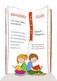 Niños que leen el anuncio del club de la educación Foto de archivo libre de regalías