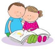 Niños que leen un libro libre illustration