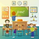 Niños que limpian la sala de clase Ilustración del vector ilustración del vector