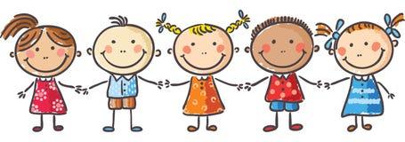 Niños que llevan a cabo las manos libre illustration