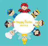 Niños que llevan diversos trajes purim feliz adentro stock de ilustración