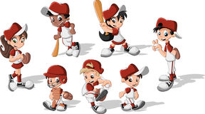 Niños que llevan el uniforme del béisbol Fotografía de archivo