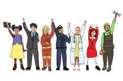 Niños que llevan a Job Uniforms futuro Imágenes de archivo libres de regalías