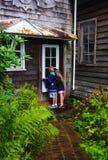Niños que miran a escondidas en ventana fotografía de archivo libre de regalías