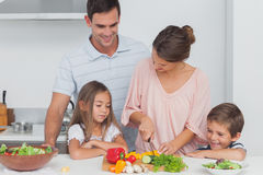 Niños que miran a su madre que está preparando verduras Imagenes de archivo