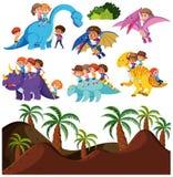 Niños que montan el dinosaurio y el fondo prehistórico stock de ilustración