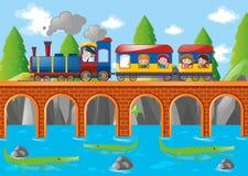 Niños que montan en el tren sobre el puente stock de ilustración