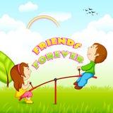 Niños que montan en la oscilación para el día de la amistad Imagen de archivo libre de regalías