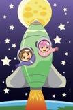 Niños que montan en un cohete Fotografía de archivo