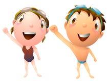 Niños que nadan al club de deportes de la clase Imagen de archivo libre de regalías