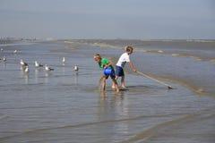 Niños que pescan los camarones y los cangrejos, Oostduinkerke, Bélgica Foto de archivo