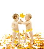 Niños que presentan la hoja de arce del otoño como regalo Imagen de archivo