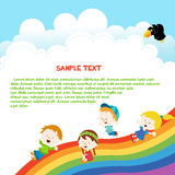 Niños que resbalan a través del arco iris ilustración del vector