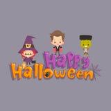 Niños que saludan feliz Halloween Imagenes de archivo