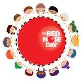Niños que se colocan en círculo alrededor de muestra roja del día de la nariz stock de ilustración