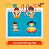 Niños que se divierten y que nadan en la piscina stock de ilustración