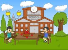 Niños que se sientan en el ejemplo del vector de la historieta del jardín de la escuela stock de ilustración