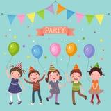 Niños que sostienen los globos coloridos en un partido ilustración del vector