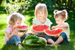 Niños que tienen comida campestre Imágenes de archivo libres de regalías