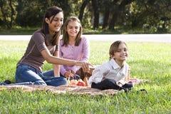 Niños que tienen comida campestre en parque Imágenes de archivo libres de regalías