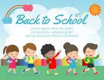 Niños que van a enseñar, de nuevo a plantilla de la escuela con los niños, a la plantilla para el folleto de publicidad, a su tex libre illustration
