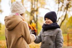 Niños sonrientes en parque del otoño Imagenes de archivo