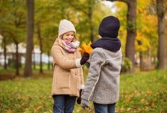 Niños sonrientes en parque del otoño Imágenes de archivo libres de regalías