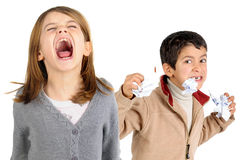 Niños subrayados Imagenes de archivo